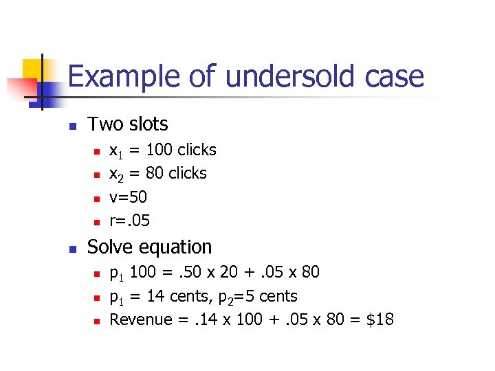 Example of undersold case n Two slots n n n x 1 = 100