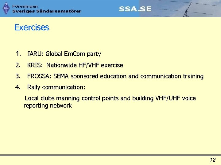 Exercises 1. IARU: Global Em. Com party 2. KRIS: Nationwide HF/VHF exercise 3. FROSSA: