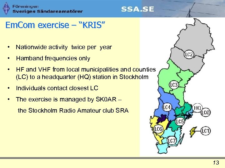 "Em. Com exercise – ""KRIS"" • Nationwide activity twice per year • Hamband frequencies"