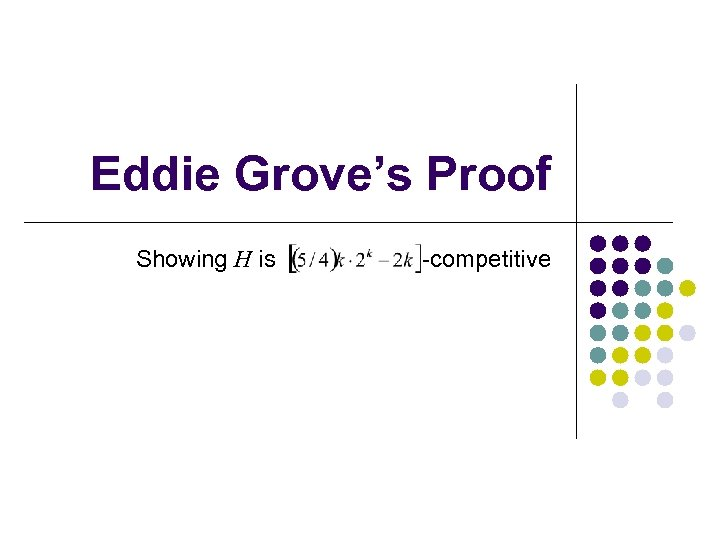 Eddie Grove's Proof Showing H is -competitive