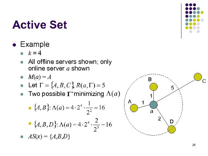 Active Set l Example l l l k=4 All offline servers shown; only online