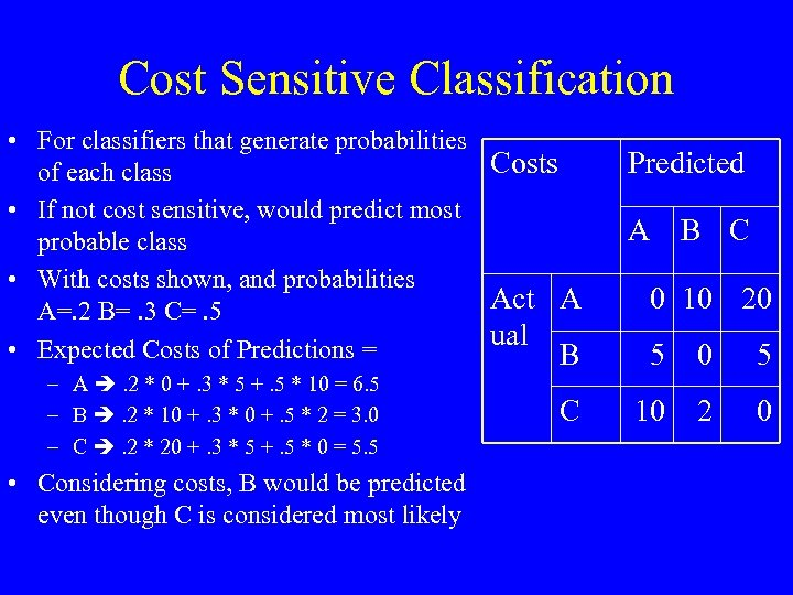 Cost Sensitive Classification • For classifiers that generate probabilities Costs of each class •