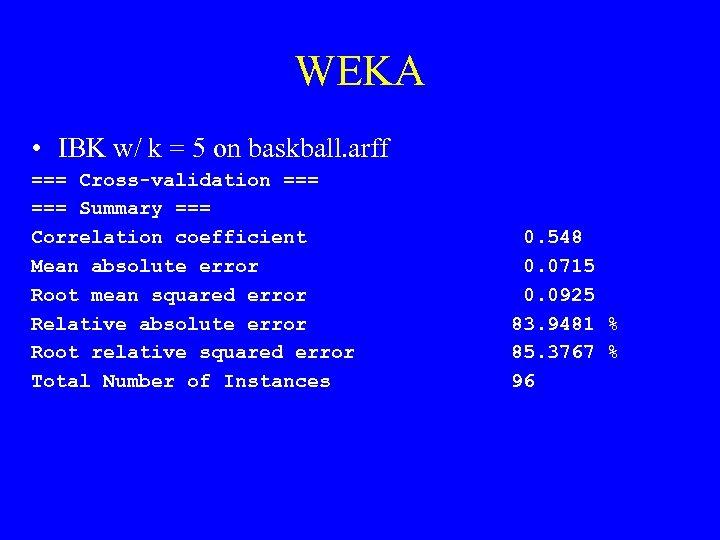 WEKA • IBK w/ k = 5 on baskball. arff === Cross-validation === Summary
