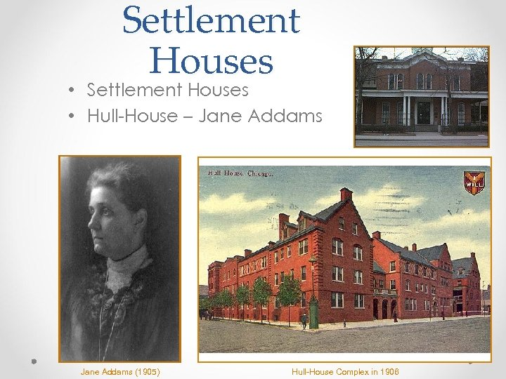 Settlement Houses • Settlement Houses • Hull-House – Jane Addams (1905) Hull-House Complex in