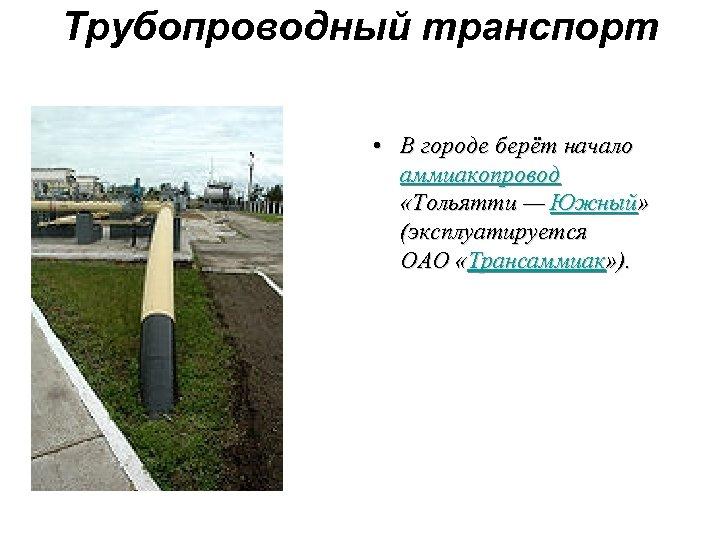 Трубопроводный транспорт • В городе берёт начало аммиакопровод «Тольятти — Южный» (эксплуатируется ОАО «Трансаммиак»