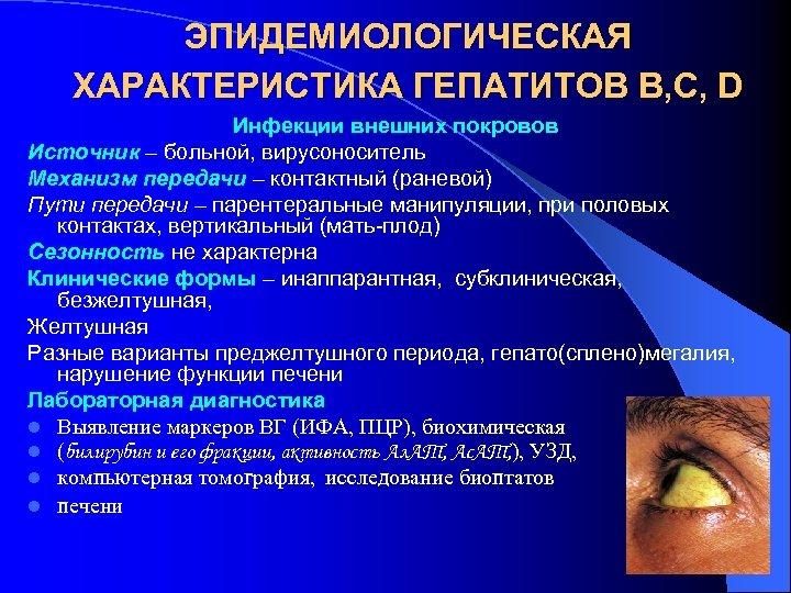 ЭПИДЕМИОЛОГИЧЕСКАЯ ХАРАКТЕРИСТИКА ГЕПАТИТОВ В, С, D Инфекции внешних покровов Источник – больной, вирусоноситель Механизм