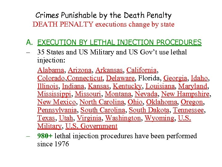 Crimes Punishable by the Death Penalty DEATH PENALTY executions change by state A. EXECUTION