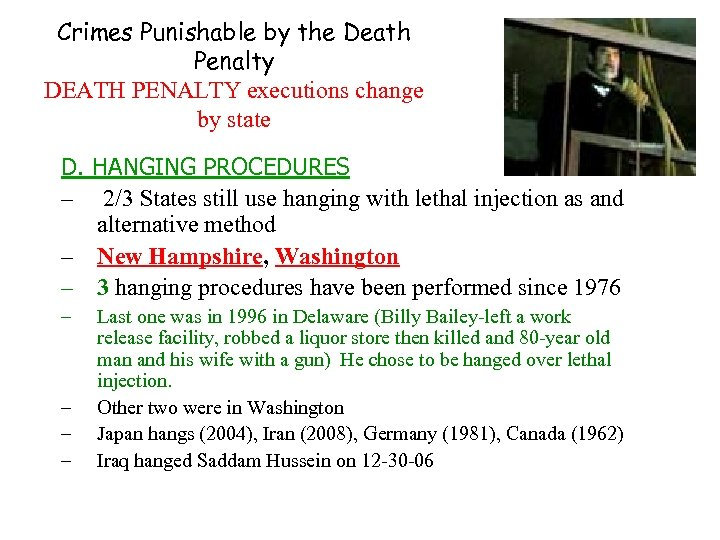 Crimes Punishable by the Death Penalty DEATH PENALTY executions change by state D. HANGING