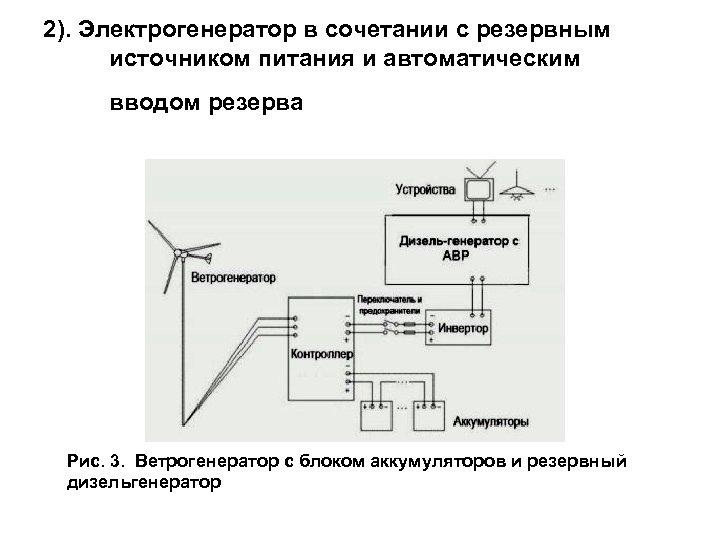 2). Электрогенератор в сочетании с резервным источником питания и автоматическим вводом резерва Рис. 3.