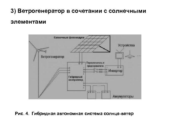 3) Ветрогенератор в сочетании с солнечными элементами Рис. 4. Гибридная автономная система солнце-ветер