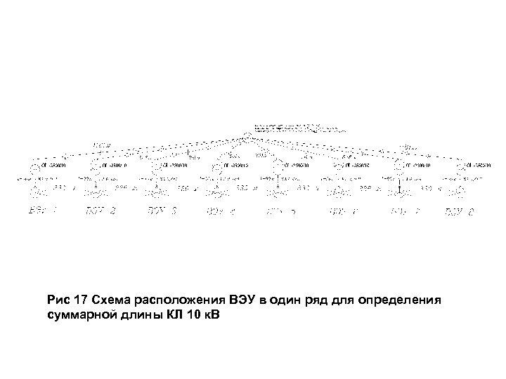 Рис 17 Схема расположения ВЭУ в один ряд для определения суммарной длины КЛ 10