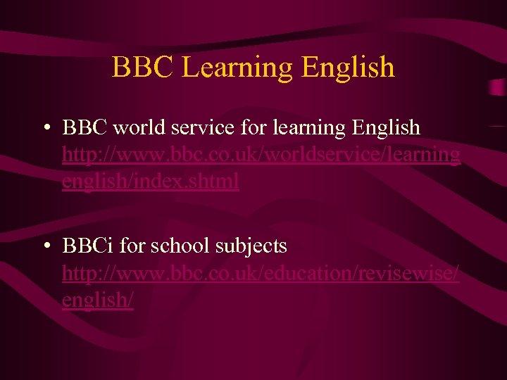 bbc world service learning english