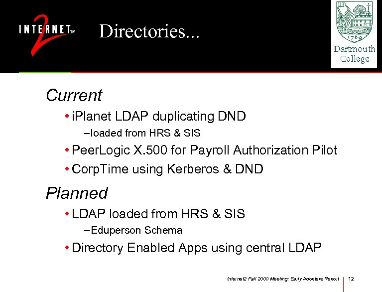 Directories. . . Current • i. Planet LDAP duplicating DND – loaded from HRS