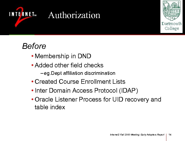 Authorization Before • Membership in DND • Added other field checks – eg. Dept