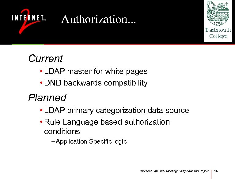 Authorization. . . Current • LDAP master for white pages • DND backwards compatibility