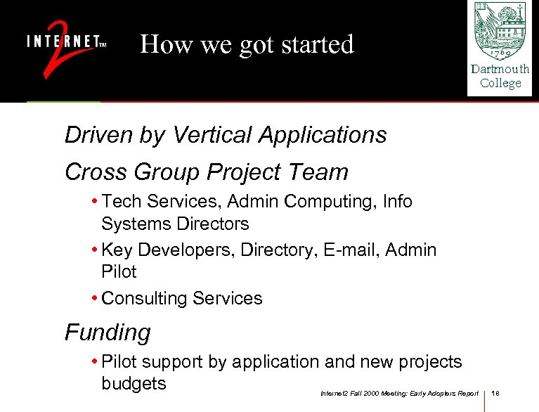 How we got started Driven by Vertical Applications Cross Group Project Team • Tech