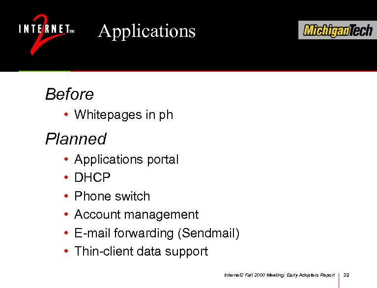 Applications Before • Whitepages in ph Planned • • • Applications portal DHCP Phone