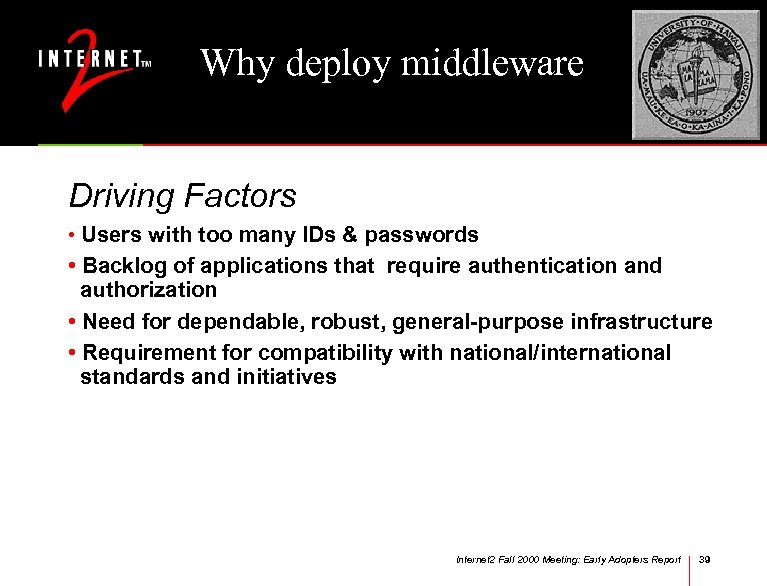 Why deploy middleware Driving Factors • Users with too many IDs & passwords •