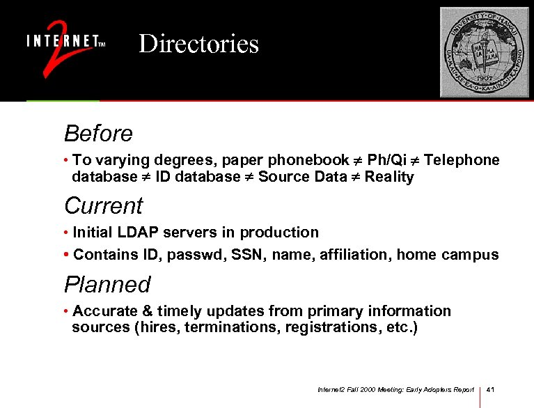 Directories Before • To varying degrees, paper phonebook Ph/Qi Telephone database ID database Source