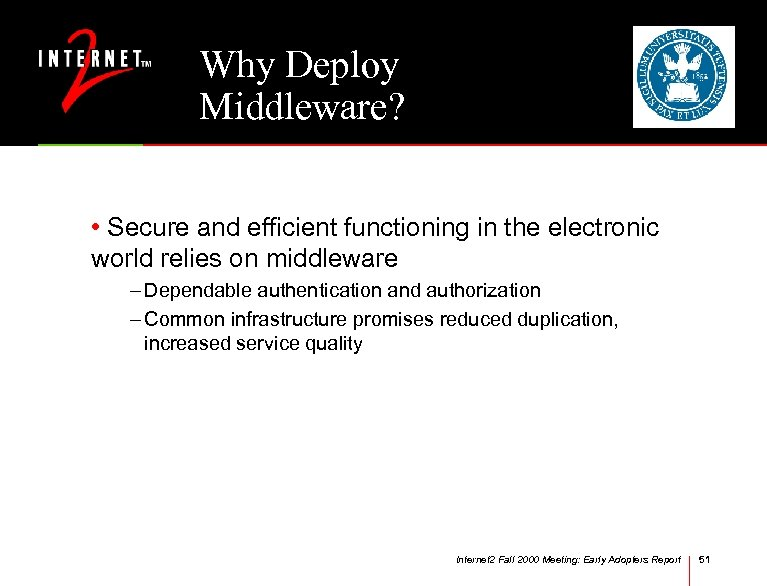 Why Deploy Middleware? • Secure and efficient functioning in the electronic world relies on