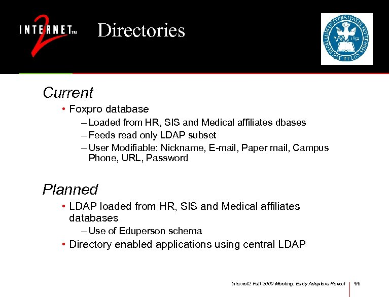 Directories Current • Foxpro database – Loaded from HR, SIS and Medical affiliates dbases