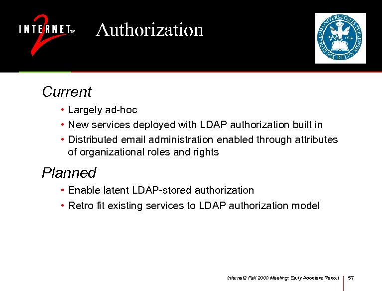 Authorization Current • Largely ad-hoc • New services deployed with LDAP authorization built in