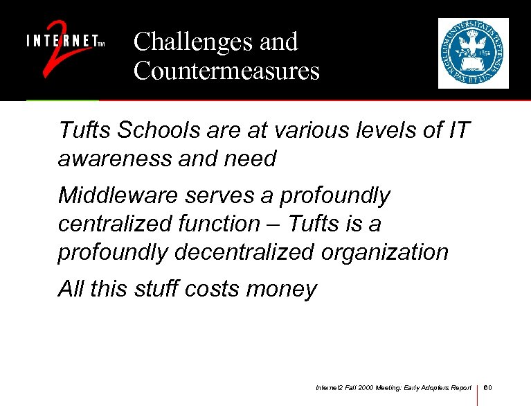 Challenges and Countermeasures Tufts Schools are at various levels of IT awareness and need
