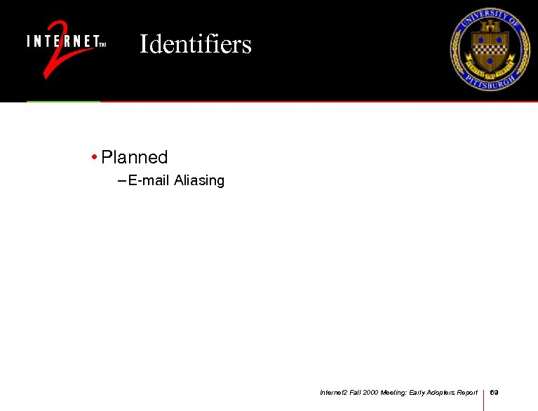 Identifiers • Planned – E-mail Aliasing Internet 2 Fall 2000 Meeting: Early Adopters Report