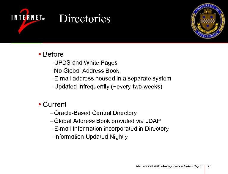 Directories • Before – UPDS and White Pages – No Global Address Book –
