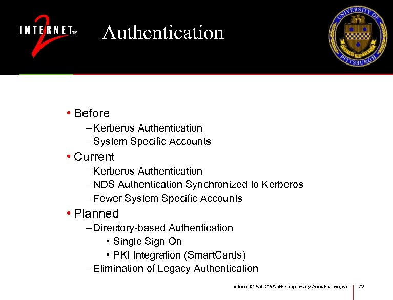 Authentication • Before – Kerberos Authentication – System Specific Accounts • Current – Kerberos