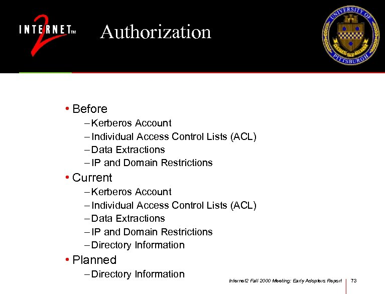 Authorization • Before – Kerberos Account – Individual Access Control Lists (ACL) – Data