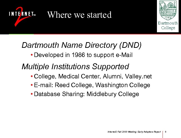 Where we started Dartmouth Name Directory (DND) • Developed in 1986 to support e-Mail