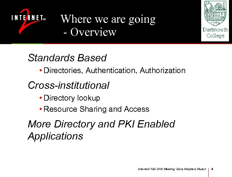 Where we are going - Overview Standards Based • Directories, Authentication, Authorization Cross-institutional •