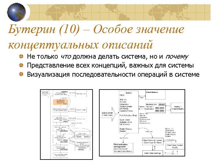 Бутерин (10) – Особое значение концептуальных описаний Не только что должна делать система, но