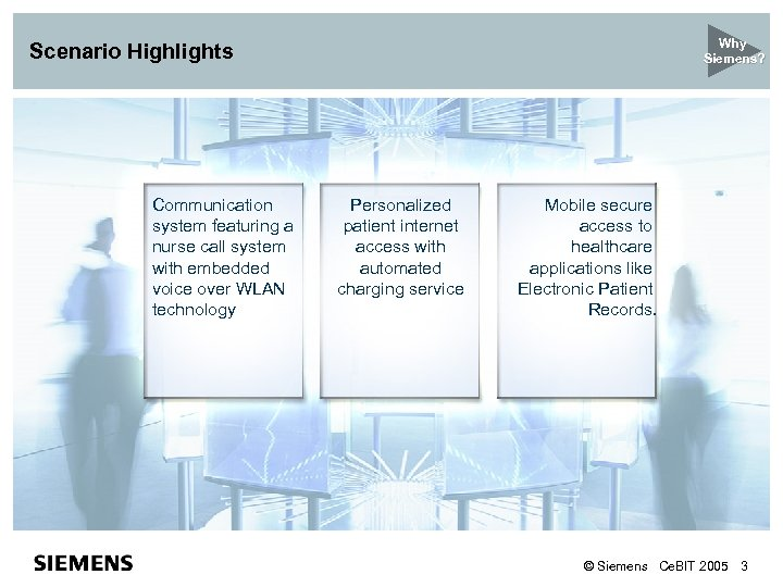 Why Siemens? Scenario Highlights Communication system featuring a nurse call system with embedded voice