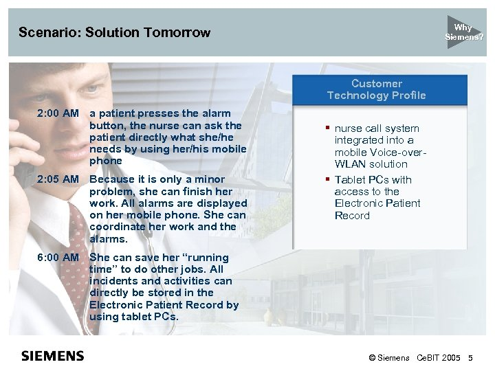 New Customer Why Siemens? Scenario: Solution Tomorrow Technology Profile Customer Technology Profile 2: 00