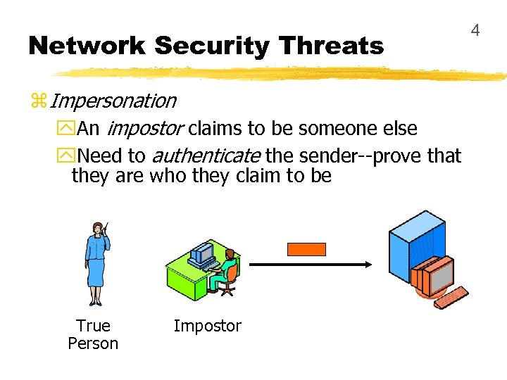 Network Security Threats z Impersonation y. An impostor claims to be someone else y.