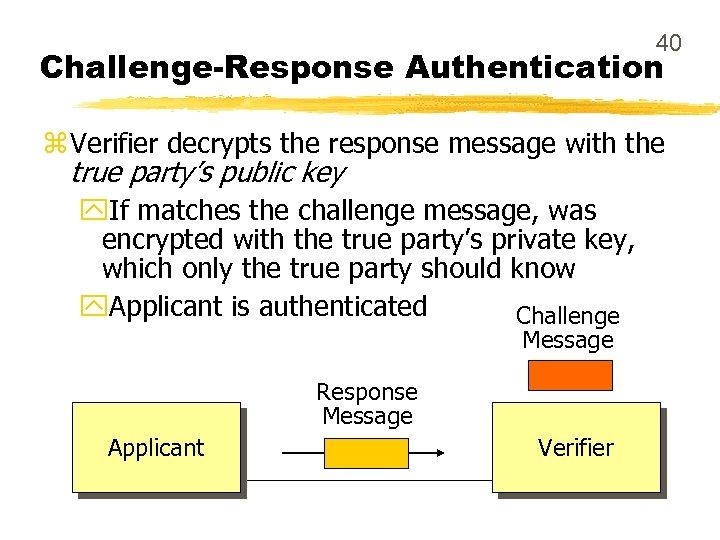 40 Challenge-Response Authentication z Verifier decrypts the response message with the true party's public