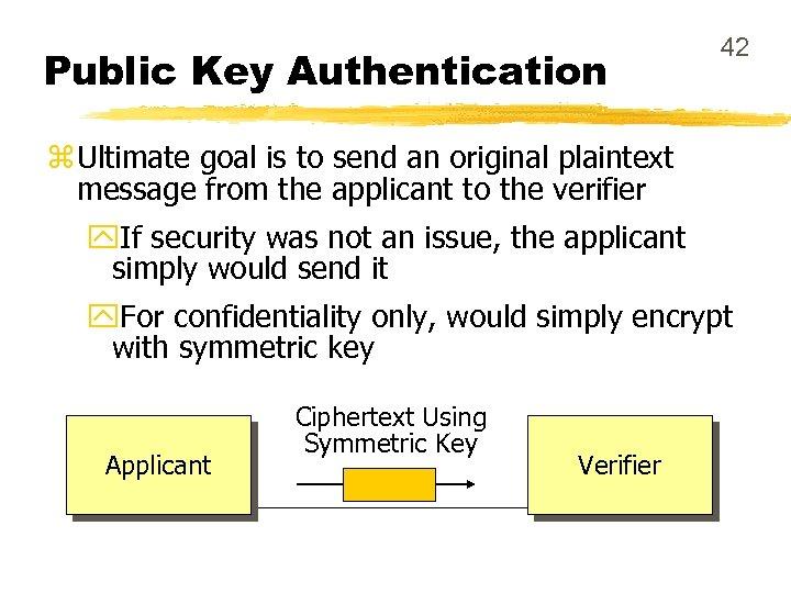 Public Key Authentication 42 z Ultimate goal is to send an original plaintext message
