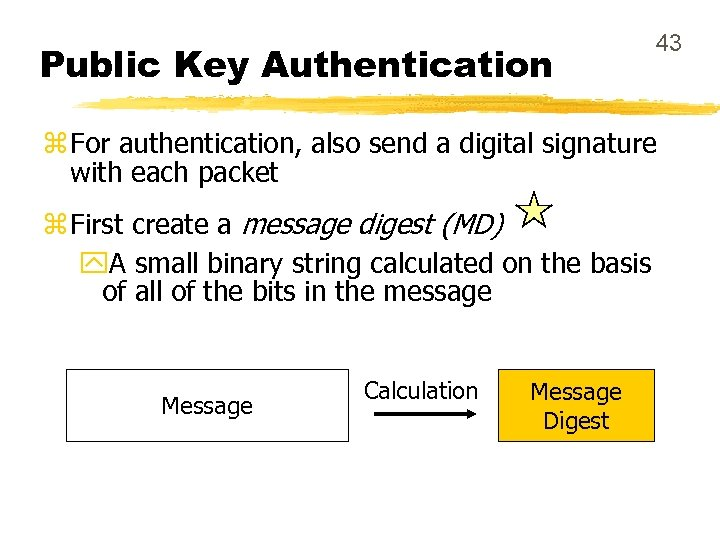 Public Key Authentication 43 z For authentication, also send a digital signature with each