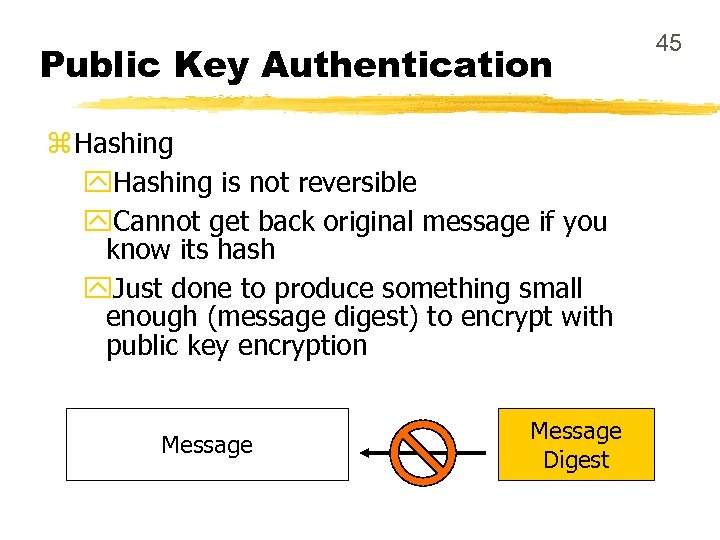 Public Key Authentication z Hashing y. Hashing is not reversible y. Cannot get back