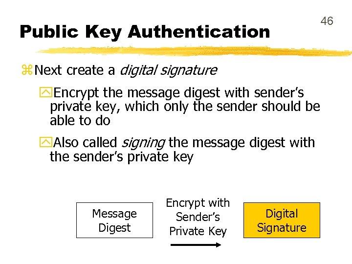 Public Key Authentication z Next create a digital signature y. Encrypt the message digest