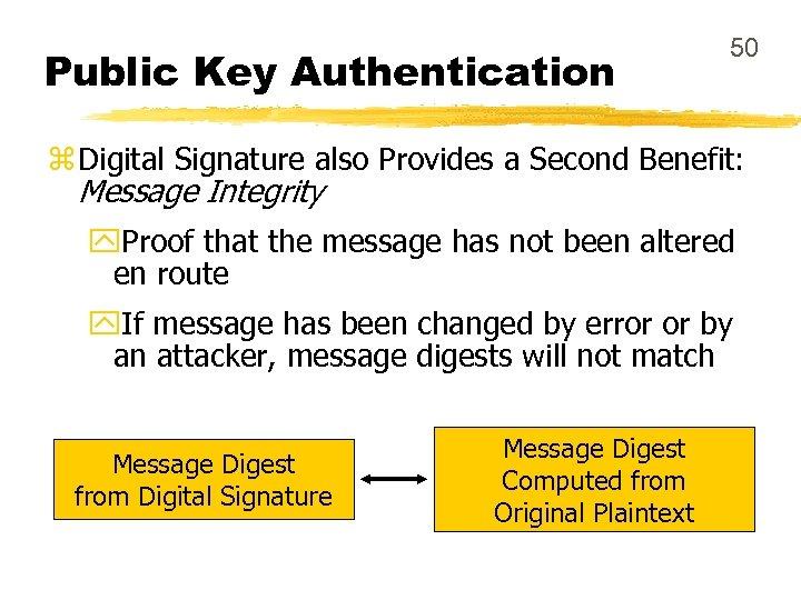 Public Key Authentication 50 z Digital Signature also Provides a Second Benefit: Message Integrity