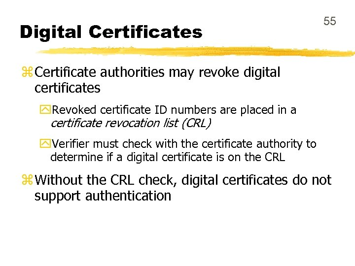 Digital Certificates 55 z Certificate authorities may revoke digital certificates y. Revoked certificate ID