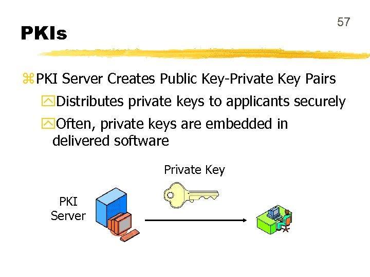 57 PKIs z PKI Server Creates Public Key-Private Key Pairs y. Distributes private keys