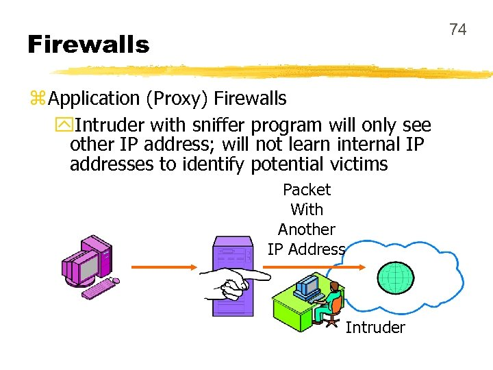74 Firewalls z Application (Proxy) Firewalls y. Intruder with sniffer program will only see