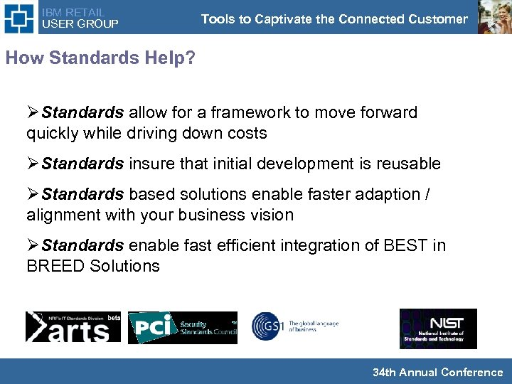 IBM RETAIL USER GROUP Tools to Captivate the Connected Customer How Standards Help? ØStandards