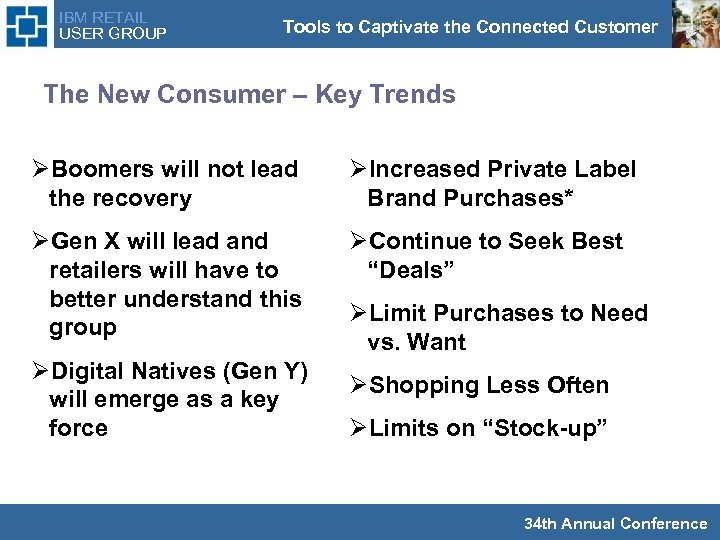 IBM RETAIL USER GROUP Tools to Captivate the Connected Customer The New Consumer –