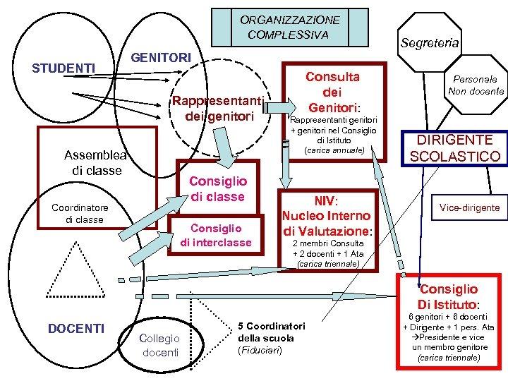 ORGANIZZAZIONE COMPLESSIVA STUDENTI Segreteria GENITORI Rappresentanti dei genitori Assemblea di classe Consiglio di classe