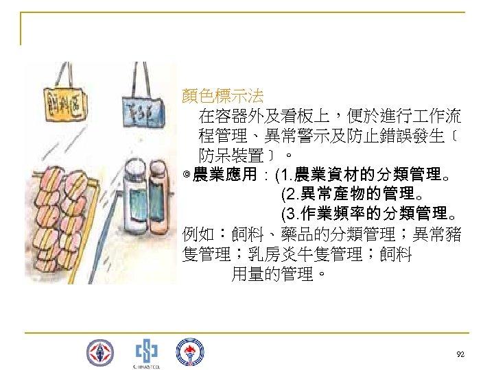 顏色標示法  在容器外及看板上,便於進行 作流  程管理、異常警示及防止錯誤發生﹝  防呆裝置﹞。 ◎農業應用:(1. 農業資材的分類管理。       (2. 異常產物的管理。       (3. 作業頻率的分類管理。 例如:飼料、藥品的分類管理;異常豬 隻管理;乳房炎牛隻管理;飼料    用量的管理。